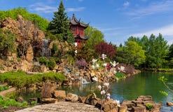 Chinesischer Garten an botanischem Garten Montreals lizenzfreie stockfotografie
