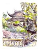 Chinesischer Garten mit Pagode in Suzhou, China watercolor Stock Abbildung
