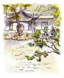 Chinesischer Garten mit Pagode in Suzhou, China watercolor Lizenzfreie Abbildung