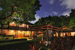 Chinesischer Garten und Nacht Stockfotografie