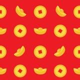 Chinesischer Goldbarren-Münzensatz Nahtlose Muster-China-Geldquadratmitte Golden mit Loch Guten Rutsch ins Neue Jahr-Symbolattrib Lizenzfreie Stockfotografie