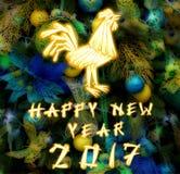 Chinesischer Hahn 2017 neues Year& x27; s-Designhintergrund Lizenzfreies Stockfoto