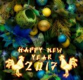 Chinesischer Hahn 2017 neues Year& x27; s-Designhintergrund Stockfoto