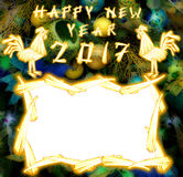 Chinesischer Hahn 2017 neues Year& x27; s-Designhintergrund Stockbilder