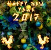 Chinesischer Hahn 2017 neues Year& x27; s-Designhintergrund Stockfotos