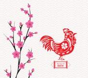 Chinesischer Hahn und Hintergrund des neuen Jahres der Blüte Lizenzfreies Stockbild