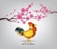 Chinesischer Hahn 2017 und Hintergrund des neuen Jahres der Blüte Stockbilder