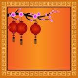 Chinesischer Hintergrund mit Laternen - Illustration Lizenzfreie Stockfotografie