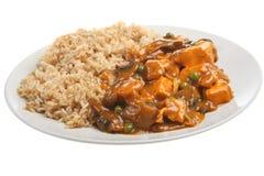 Chinesischer Huhn-Curry u. gebratener Reis Stockfoto