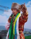 Chinesischer Künstler im bunten Kostüm Stockbild
