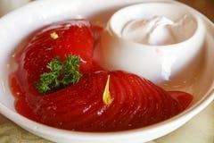 Chinesischer kalter Teller - rote Birne. Stockfotos