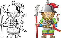 Chinesischer Krieger, lustige Illustration, Malbuch Lizenzfreie Stockfotografie