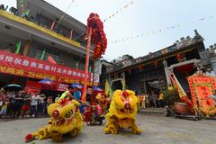 Chinesischer Löwe-Tanz Stockfotografie