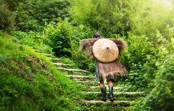 Chinesischer Landwirt im antiken Regenmantel gehend herauf Treppe lizenzfreies stockbild