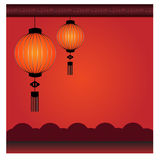 Chinesischer Laternen-Hintergrund - Illustration Lizenzfreies Stockbild