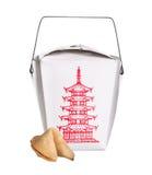 Chinesischer Lebensmittelkastenbehälter mit Glückskeks stockbild