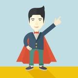 Chinesischer Mann des Helden, der herauf Hoch auf den Himmel zeigt Lizenzfreies Stockfoto