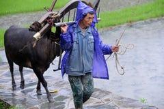 Chinesischer Miao Nationalitätslandwirt im Regen Stockfoto