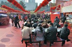 Chinesischer neues Jahr-Tempel angemessen in Wuhan Stockfoto