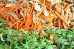 Chinesischer Nudelaufruhr mit Gemüse, Tofu, Pilz Vegetarierlebensmittel Stockfotografie