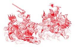Chinesischer Papierausschnitt - kämpfend Stockfotografie