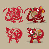 Chinesischer Ratten- und Hundepapierausschnitt Lizenzfreie Stockfotos