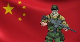 Chinesischer Soldat Background Animation stock footage