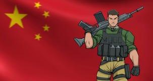 Chinesischer Soldat Background Animation vektor abbildung