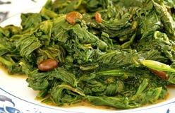 Chinesischer Spinat und gegorene Sojabohnen Stockbild