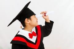 Chinesischer Staffelungs-Junge, der einen Job findet Stockfoto