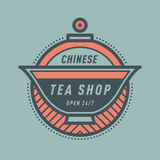 Chinesischer Teeshopmonogramm-Logoausweis Stockbild