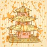 Chinesischer Tempel der Skizze, Hintergrund ENV 10 Stockbild