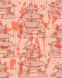Chinesischer Tempel der Skizze, vector nahtloses Muster Lizenzfreie Stockfotos