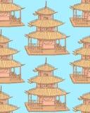 Chinesischer Tempel der Skizze, vector nahtloses Muster Stockfotos