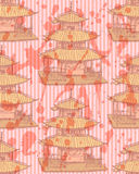 Chinesischer Tempel der Skizze, vector nahtloses Muster Stockfoto