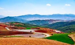 Chinesischer Terrassenbauernhof mit rotem Boden Lizenzfreies Stockbild
