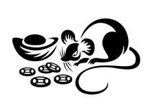 Chinesischer Tierkreis der Ratte und Porzellanmünzenbarrenzeichensymbolvektorentwurf stock abbildung
