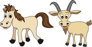 Chinesischer Tierkreis stellte 4 ein: Pferd und Ziege Lizenzfreies Stockfoto