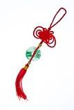 Chinesischer traditioneller Knoten mit Jade lizenzfreie stockbilder