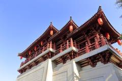 Chinesischer traditioneller Pavillon von datangfurong Garten, luftgetrockneter Ziegelstein rgb Stockfotografie