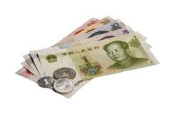 Chinesischer Yuan (RMB) Renminbi auf Weiß Stockfotos