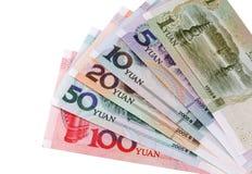 Chinesischer Yuan: Typen der Banknoten Lizenzfreies Stockfoto