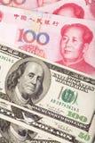 Chinesischer Yuan und US-Dollar Lizenzfreies Stockbild