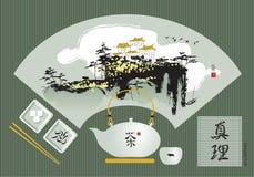 Chinesisches Aquarell und Tee Stockfoto