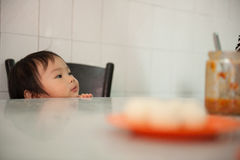 Chinesisches asiatisches Mädchen am Huhnreissystem in Melaka stockfotos