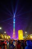 Chinesisches Beleuchtungszeigung des neuen Jahres 2016 in Quadrat Guangzhous Huacheng Stockfoto