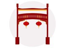 Chinesisches Gatter Historisches Denkmal Paifang Auch im corel abgehobenen Betrag Vektor Abbildung