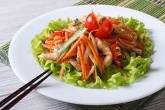 Chinesisches Geflügelsalat mit dem gebratenen Gemüse, horizontal Stockfoto