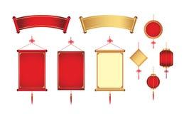 Chinesisches Hängen und Fahne Lizenzfreie Stockbilder