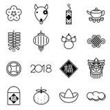 Chinesisches Jahr des Hundeikonen-Designsatzes Lizenzfreies Stockfoto